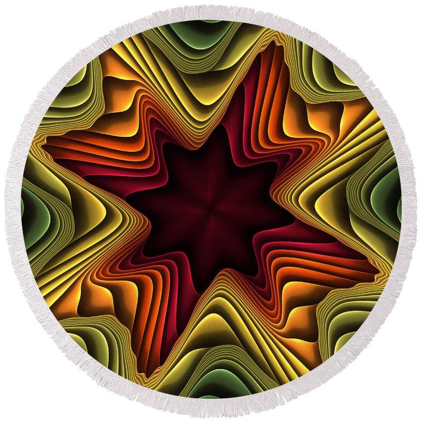 Fractal Round Beach Towel featuring the digital art Layers Of Color by Deborah Benoit