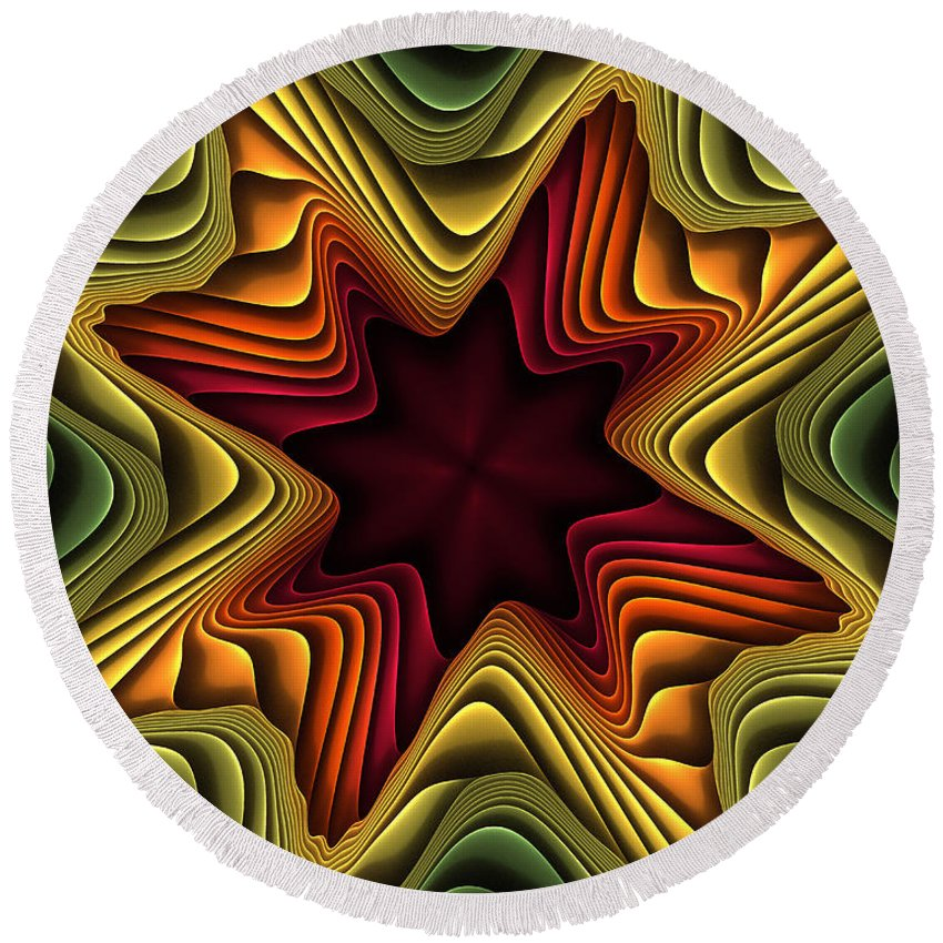 Fractal Round Beach Towel featuring the digital art Layers Of Color by Deborah Benoit