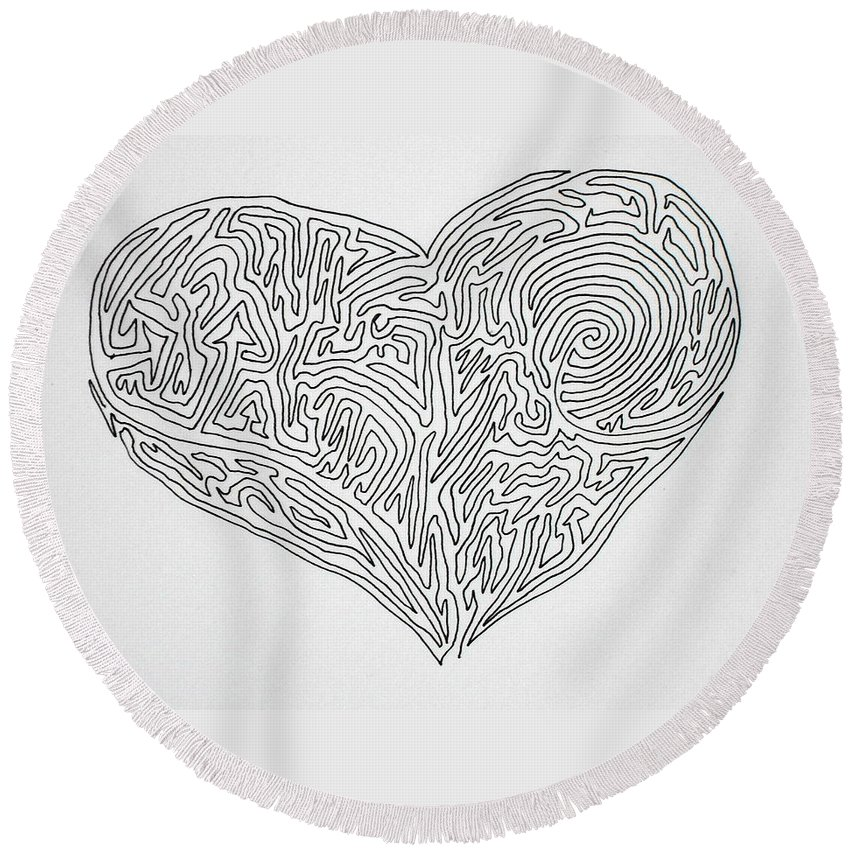 Heart Round Beach Towel featuring the painting Laying Your Heart On A Line by Vicki Housel