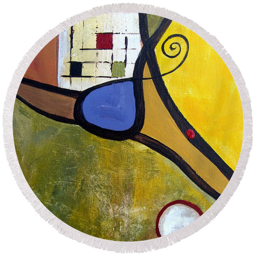 Abstract Round Beach Towel featuring the painting Lazy Days by Ruth Palmer