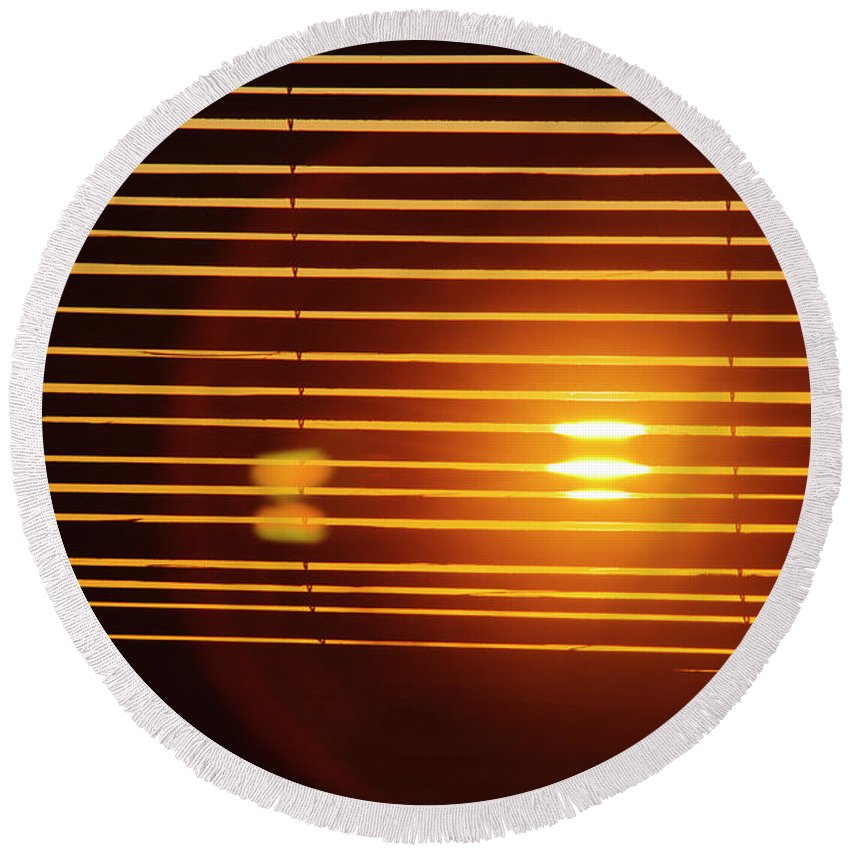 Afternoon Round Beach Towel featuring the photograph Lazy Summer Afternoon With Sunset View Through The Wooden Window Shades by Srdjan Kirtic