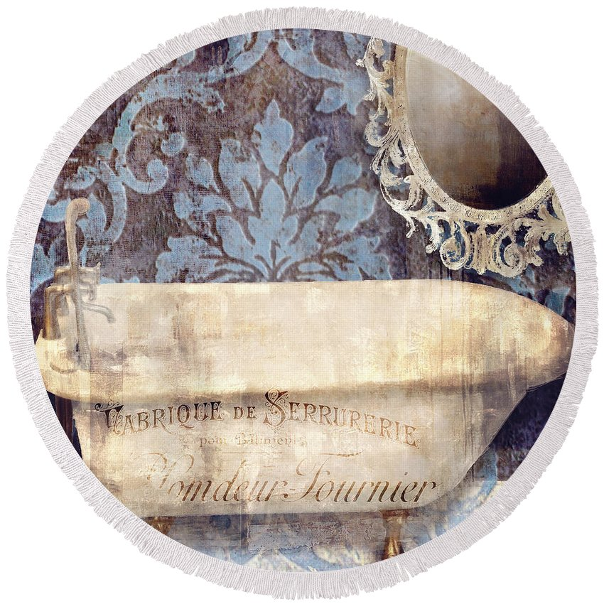 Bath Round Beach Towel featuring the painting Le Bain Paris Blue by Mindy Sommers