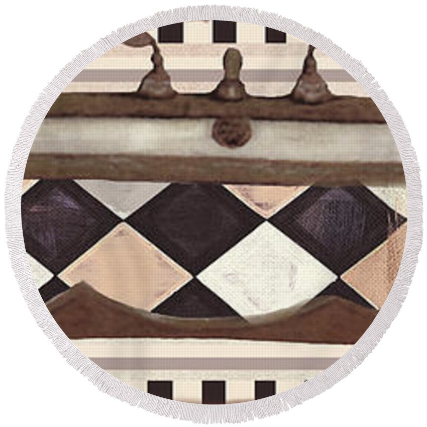 Le Bain Round Beach Towel featuring the painting Le Bain Vintage Bath by Mindy Sommers