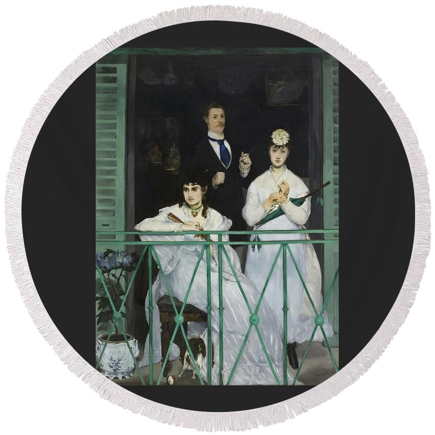 Manet - Le Balcon 1868 Paris Round Beach Towel featuring the painting Le Balcon by MotionAge Designs