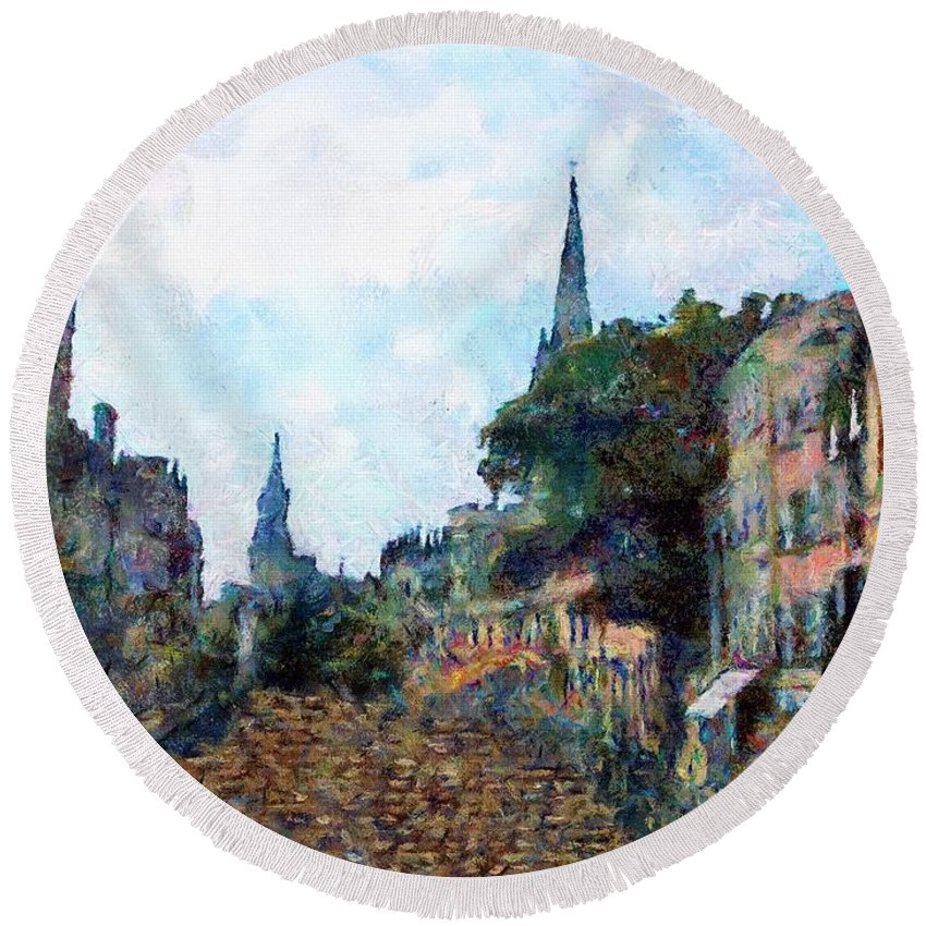 19th Century Round Beach Towel featuring the painting Le Boulevard Vide by RC DeWinter