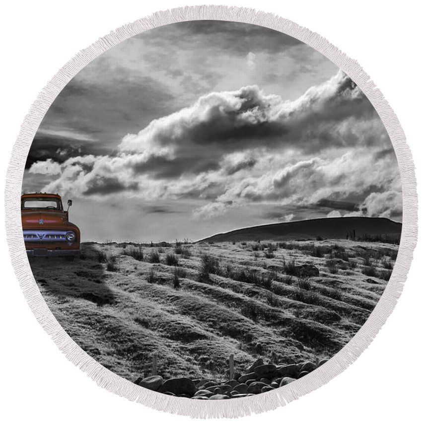 Truck Round Beach Towel featuring the photograph Le Camion Rouge by Joseph Yvon Cote