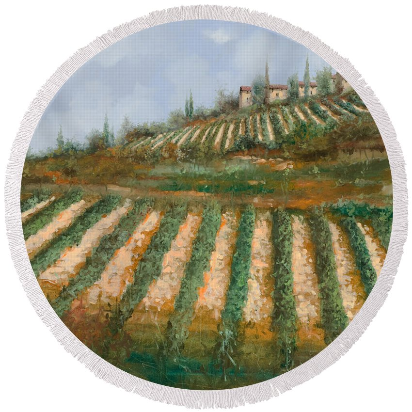 Vineyard Round Beach Towel featuring the painting Le Case Nella Vigna by Guido Borelli