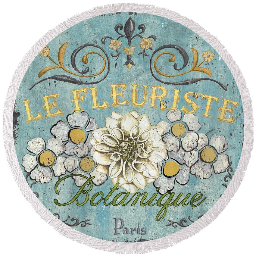 Flowers Round Beach Towel featuring the painting Le Fleuriste de Botanique by Debbie DeWitt