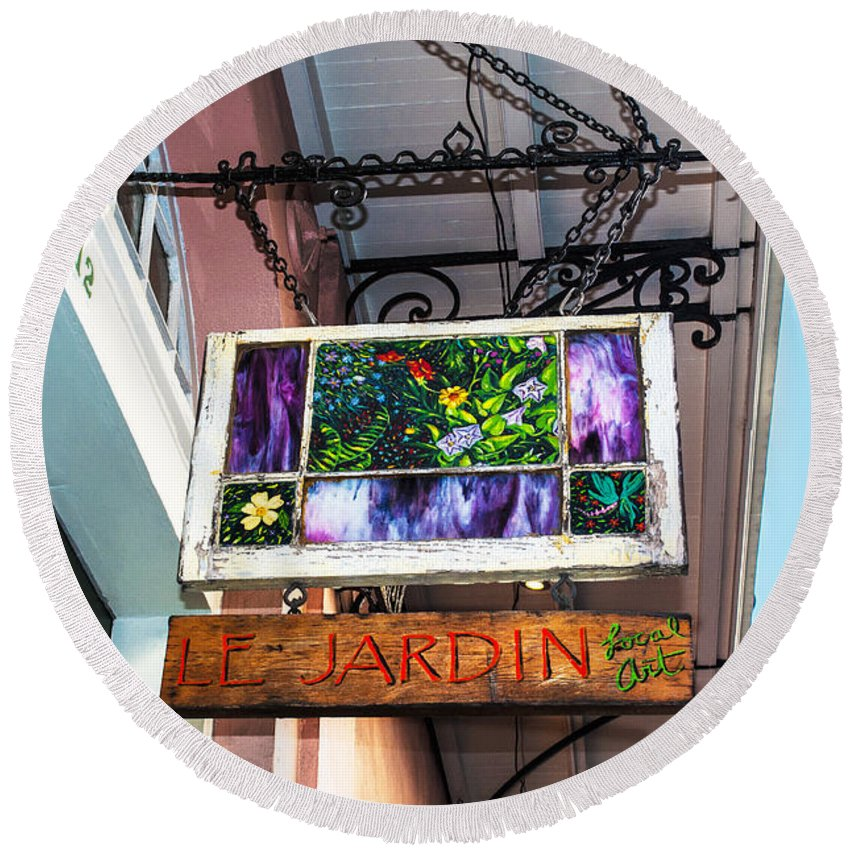 Le Jardin Round Beach Towel featuring the photograph Le Jardin Fine Art by Frances Ann Hattier
