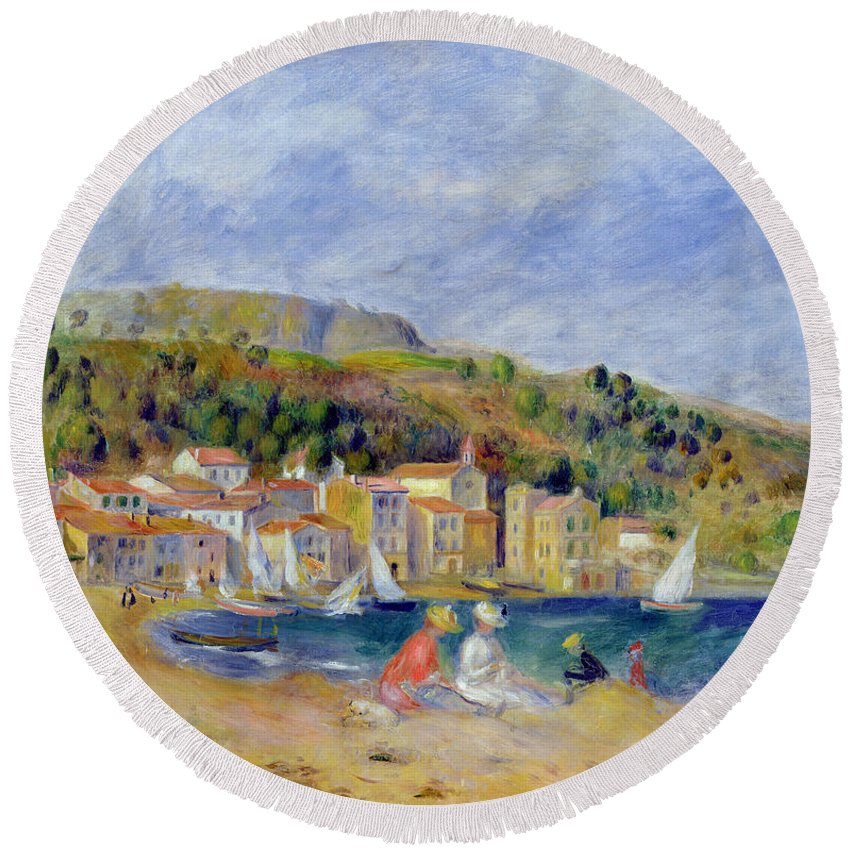 Pierre Auguste Renoir Round Beach Towel featuring the painting Le Lavandou by Pierre Auguste Renoir