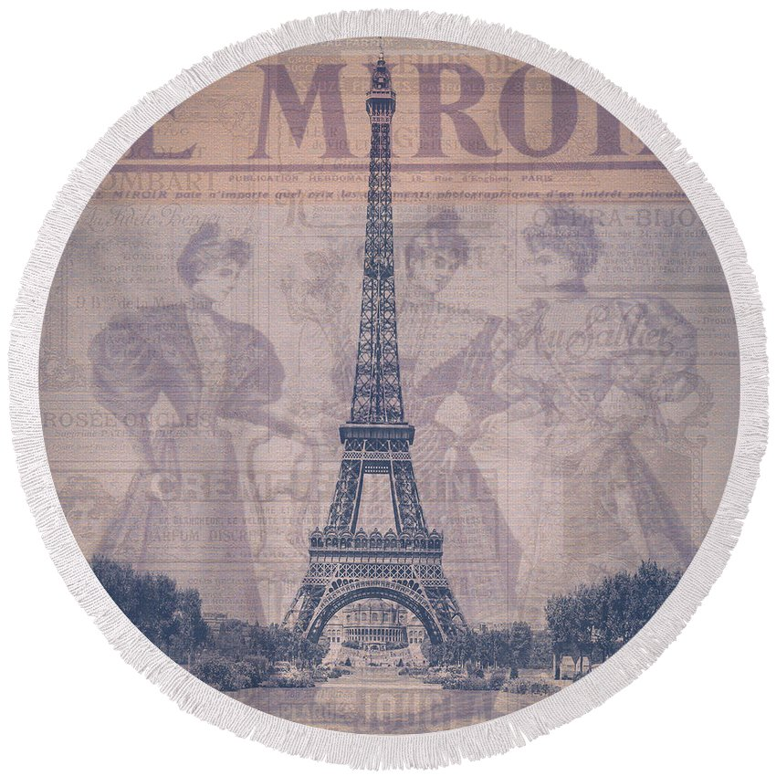 Miroir Round Beach Towel featuring the photograph Le Miroir - Paris by Bill Cannon