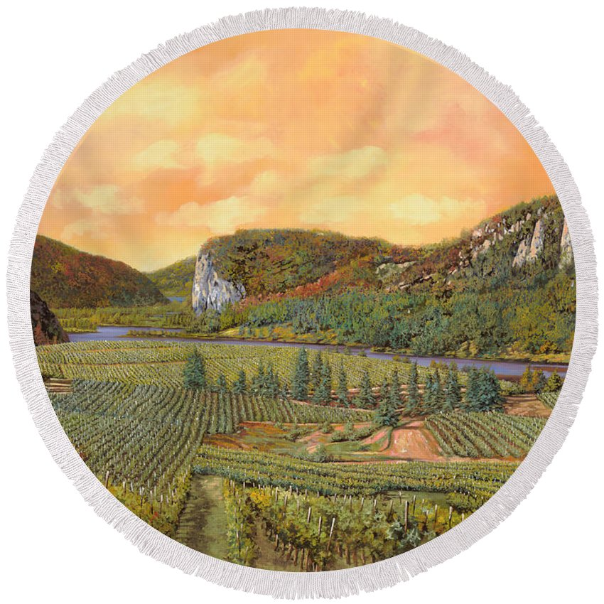 Vineyard Round Beach Towel featuring the painting Le Vigne Nel 2010 by Guido Borelli