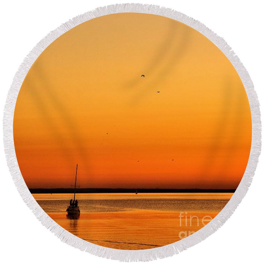 Sunset Round Beach Towel featuring the photograph Le Voyage 02 by Aimelle