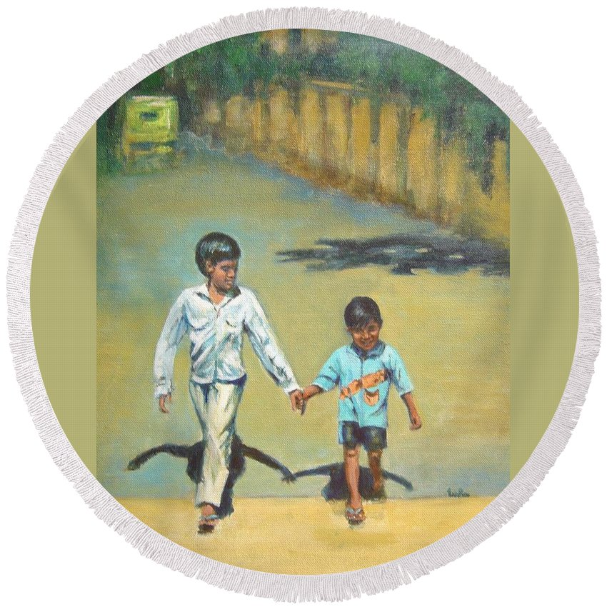 Lead Round Beach Towel featuring the painting Lead Kindly Brother by Usha Shantharam