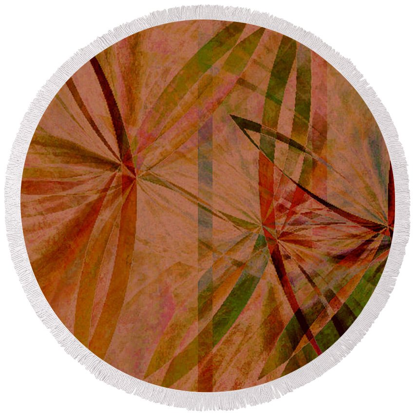 Abstract Round Beach Towel featuring the digital art Leaf Dance by Ruth Palmer
