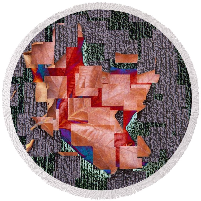 Leaf Round Beach Towel featuring the photograph Leaf On Stone 2 by Tim Allen