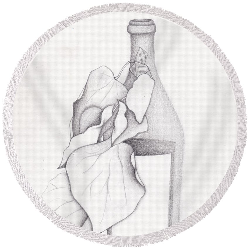 Graphite Round Beach Towel featuring the drawing Leafy Bottle by Tiffini Oman