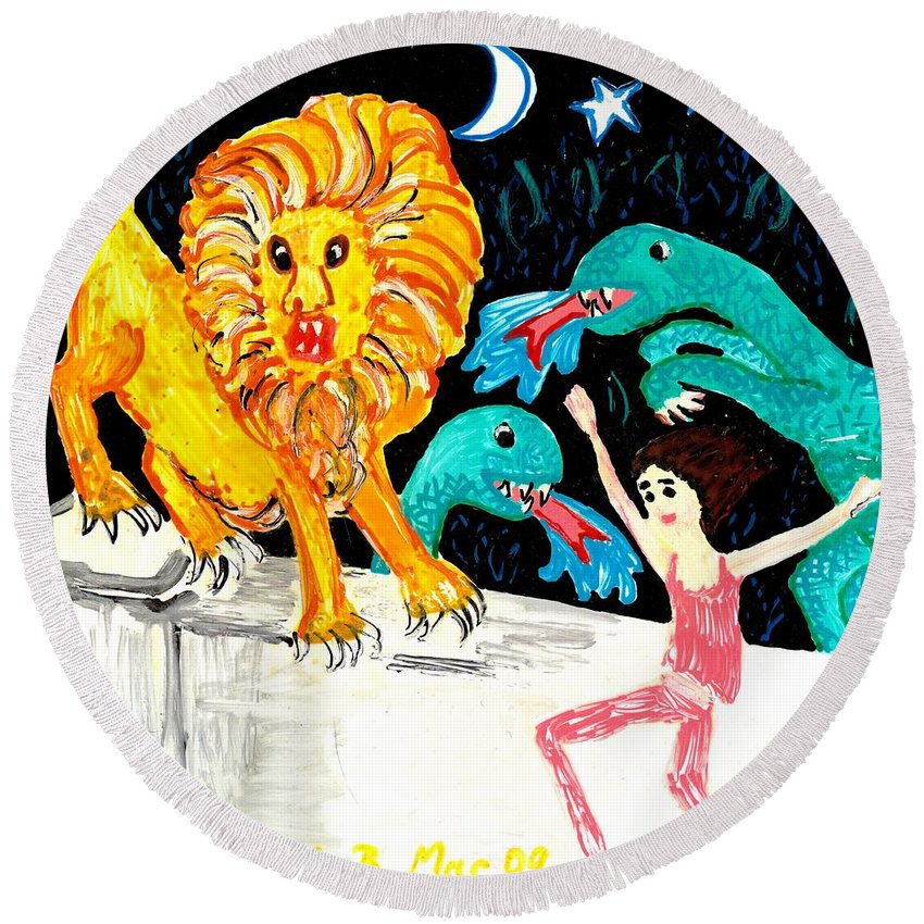 Sue Burgess Round Beach Towel featuring the painting Leap Away From The Lion by Sushila Burgess