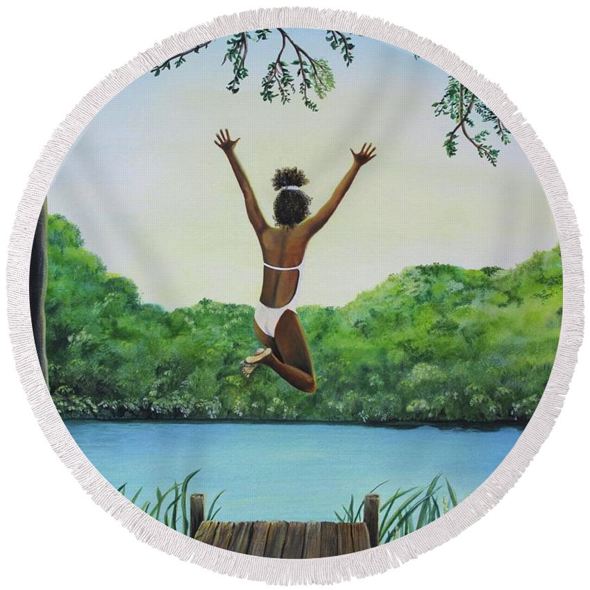 Summer Vacation Round Beach Towel featuring the painting Leap Of Faith by Kris Crollard