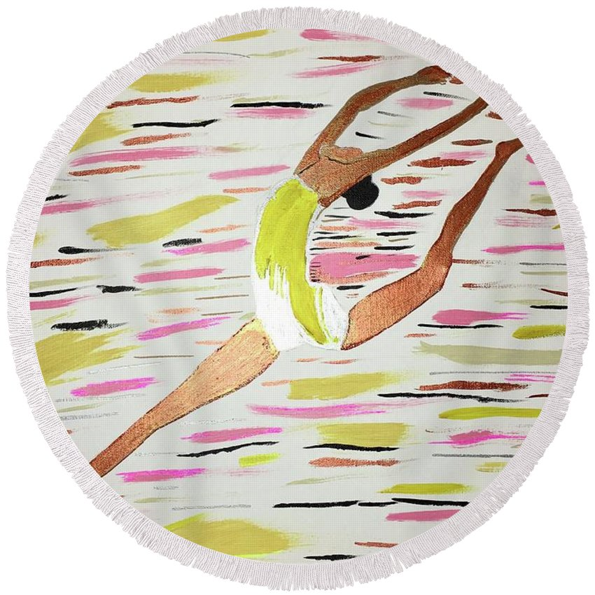 Dancers Round Beach Towel featuring the painting Leap by Tara Rocker
