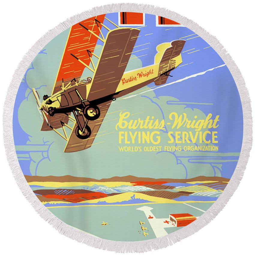 Vintage Round Beach Towel featuring the painting Learn To Fly Vintage Poster Restored by Carsten Reisinger