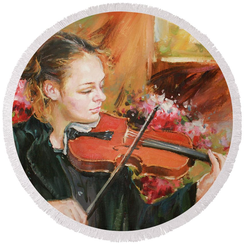Violin Round Beach Towel featuring the painting Learning The Violin by Conor McGuire