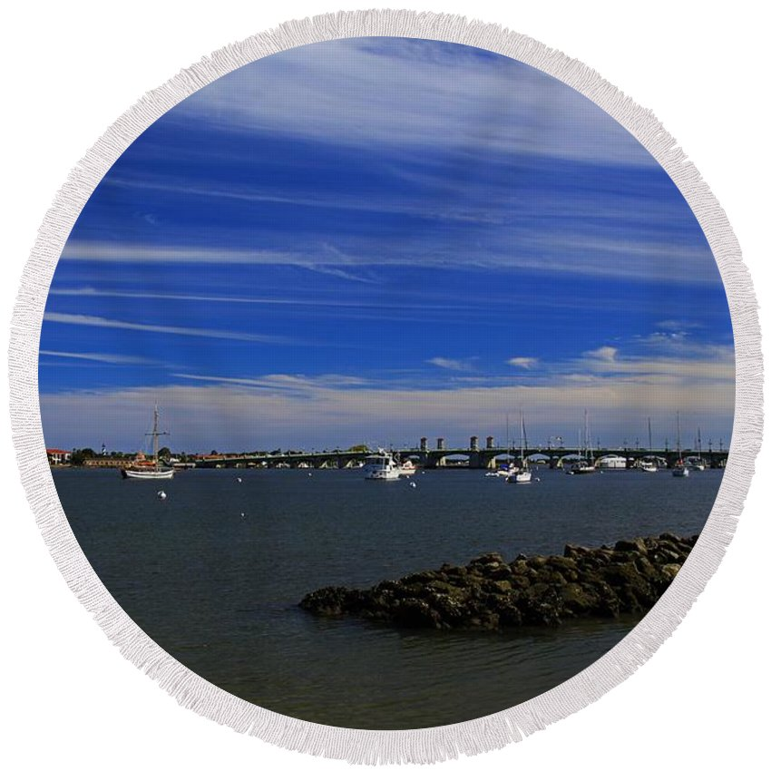 St Augustine Round Beach Towel featuring the photograph Learning To Breathe Again by Michiale Schneider