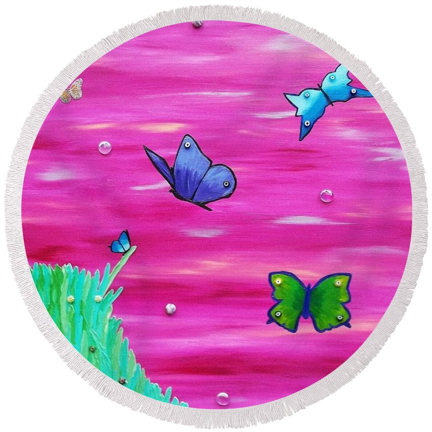 Butterflies Round Beach Towel featuring the painting Learning To Fly by Amy Pugh