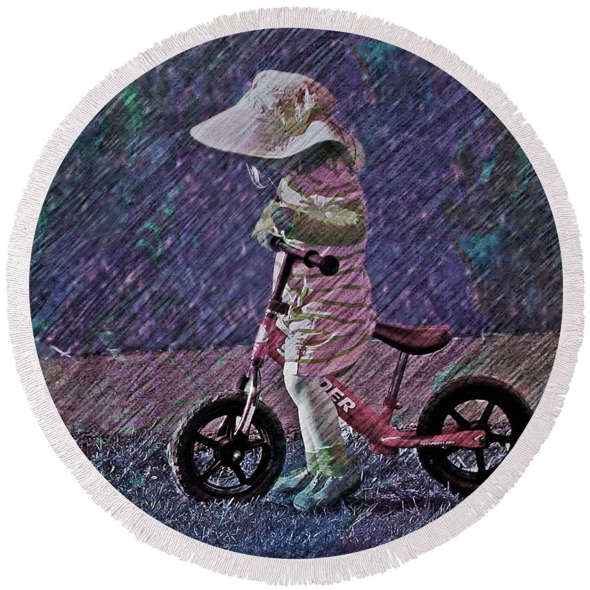 Toddler Round Beach Towel featuring the photograph Learning To Ride by Suzanne Stout