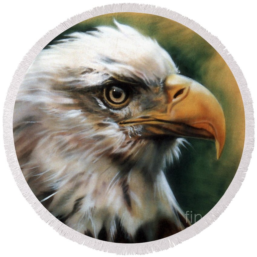 Southwest Art Round Beach Towel featuring the painting Leather Eagle by J W Baker