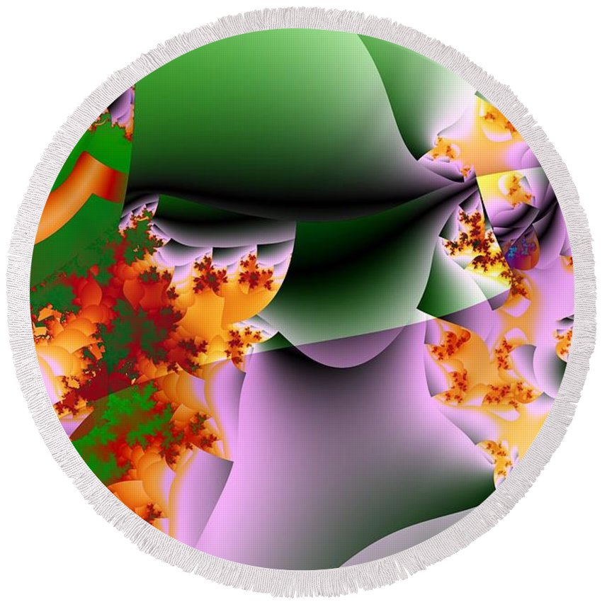 Flower Art Round Beach Towel featuring the digital art Leaves And Carpels by Ron Bissett