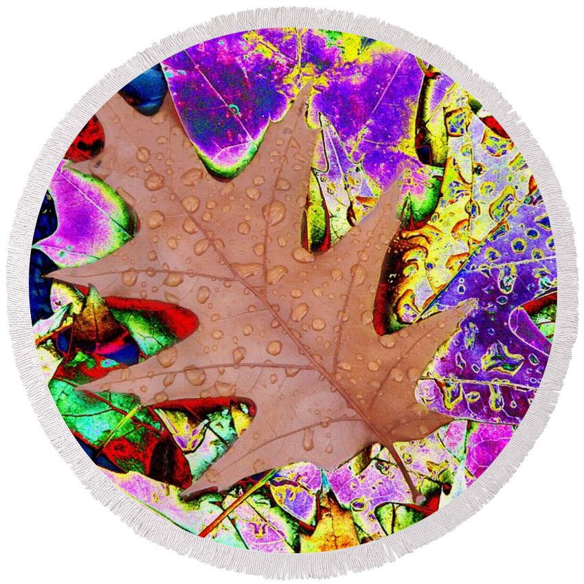 Leaves Round Beach Towel featuring the photograph Leaves And Rain 4 by Tim Allen
