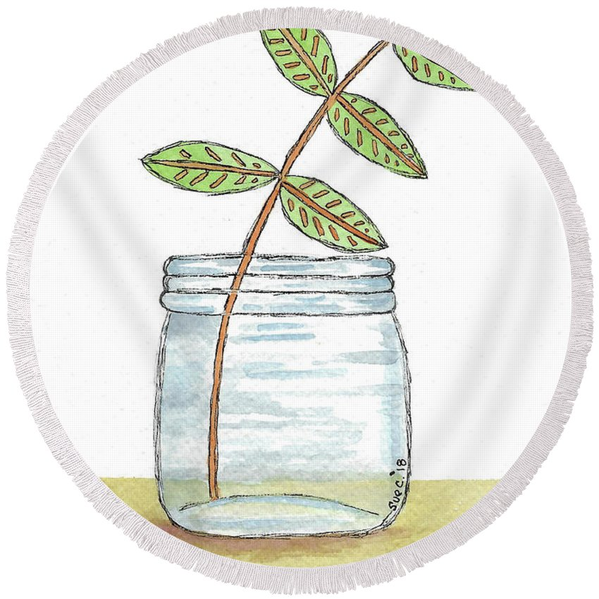 Watercolor And Ink Round Beach Towel featuring the painting Leaves In A Jar by Susan Campbell