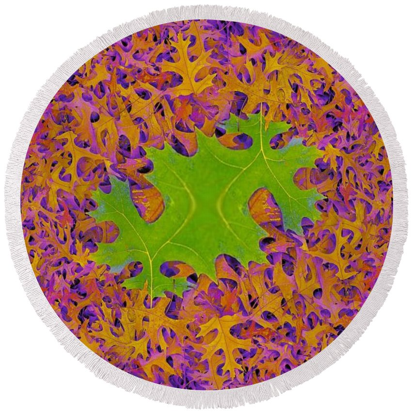 Leaves Round Beach Towel featuring the photograph Leaves In Fractal 2 by Tim Allen