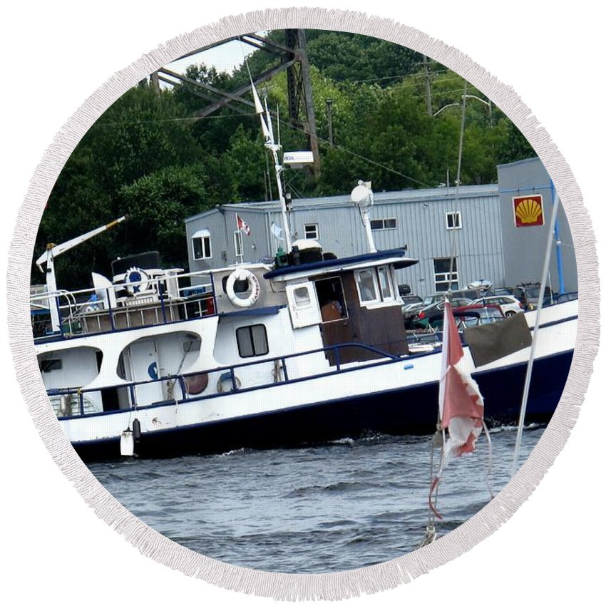Boat Round Beach Towel featuring the photograph Leaving Harbor by Ian MacDonald