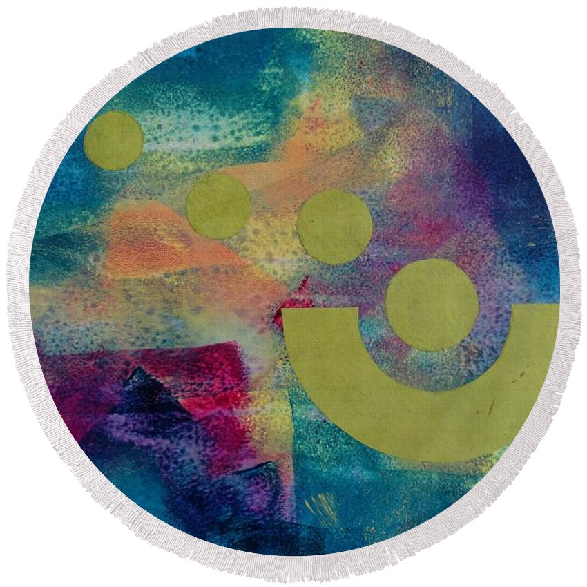 Abstract Round Beach Towel featuring the painting Leaving Home by Louise Adams