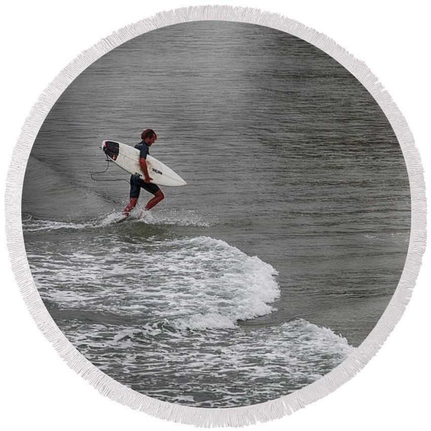 Beach Round Beach Towel featuring the photograph Leaving The Surf by Nicole Swanger