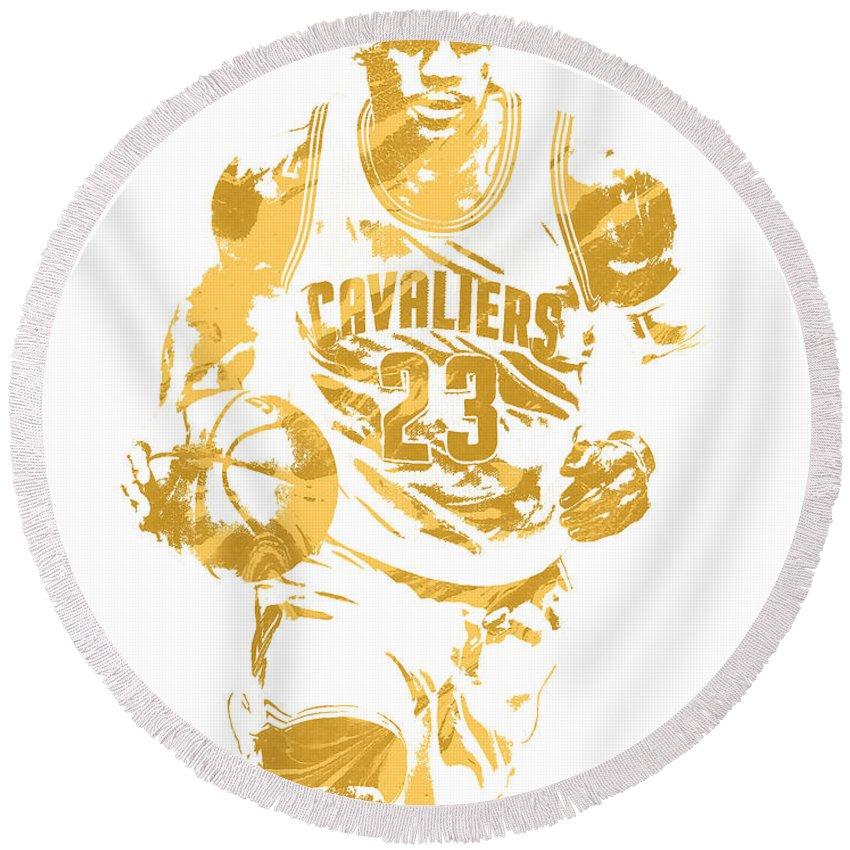 Lebron James Round Beach Towel featuring the mixed media Lebron James Cleveland Cavaliers Pixel Art 7 by Joe Hamilton