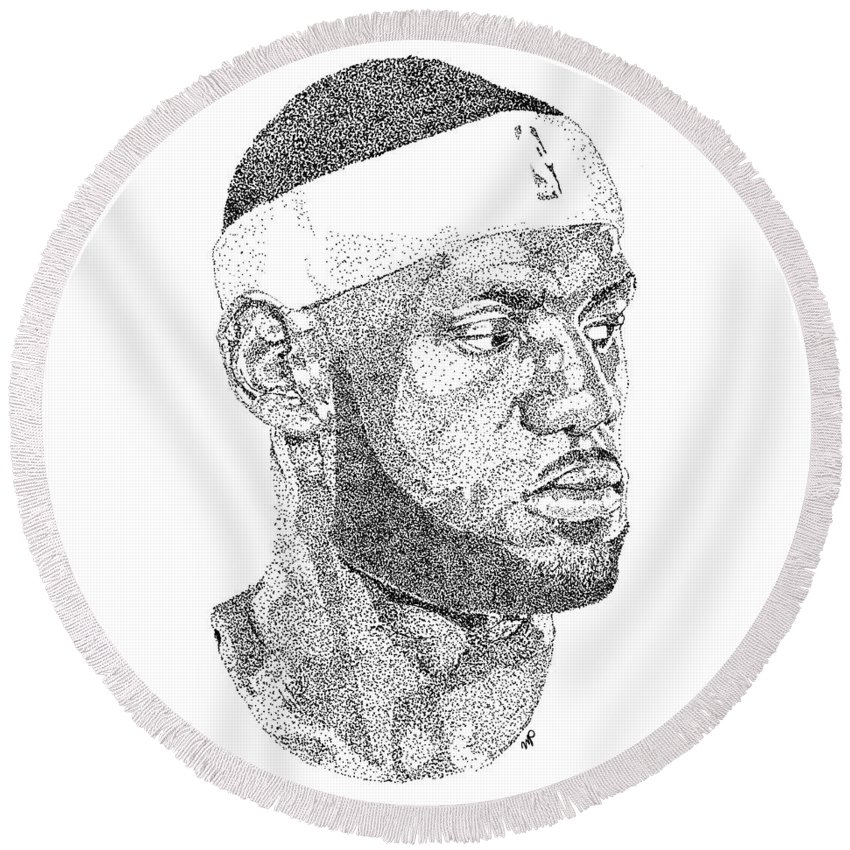 Black Art Round Beach Towel featuring the drawing Lebron James by Marcus Price
