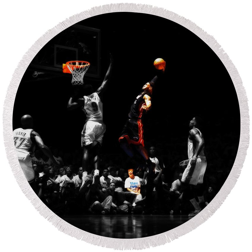 c0a8d7f5550e Lebron James Round Beach Towel featuring the mixed media Lebron James  Witness by Brian Reaves