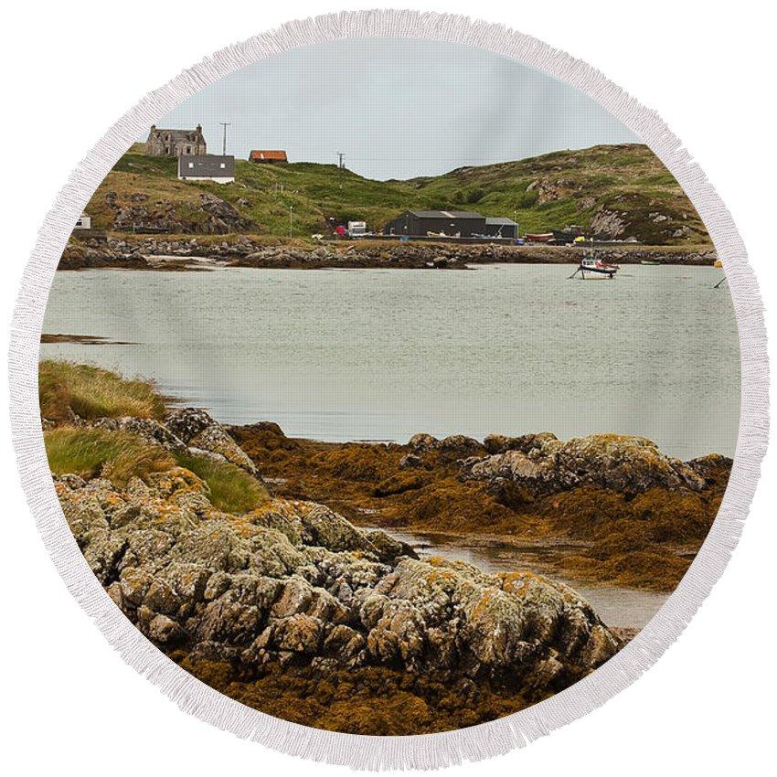 Scotland Round Beach Towel featuring the photograph Ledaig Harbour by Colette Panaioti