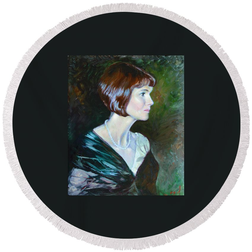 Portrait Round Beach Towel featuring the painting Ledy In Green by Ylli Haruni
