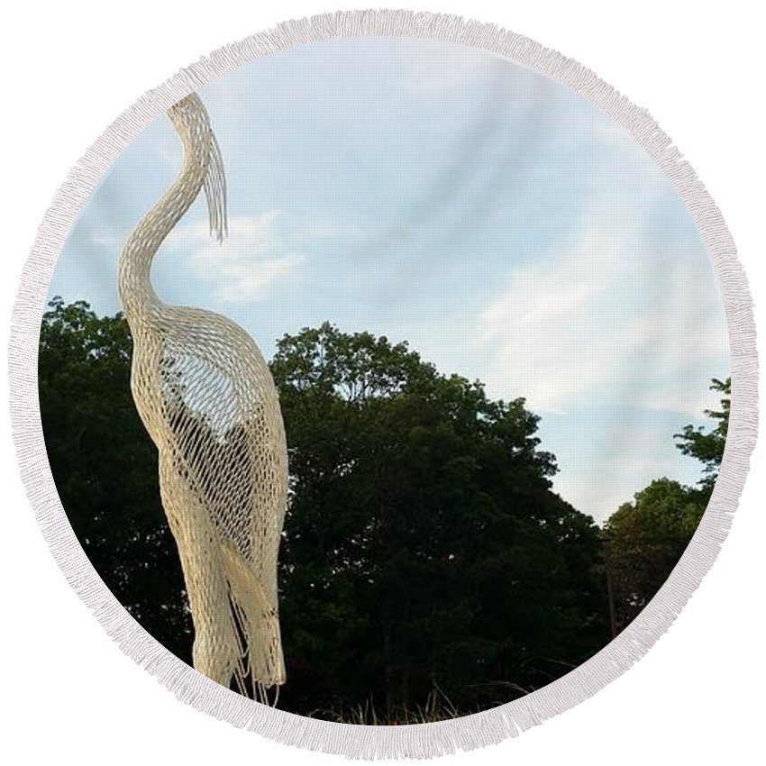 Birds Round Beach Towel featuring the photograph Left Crane by Rob Hans