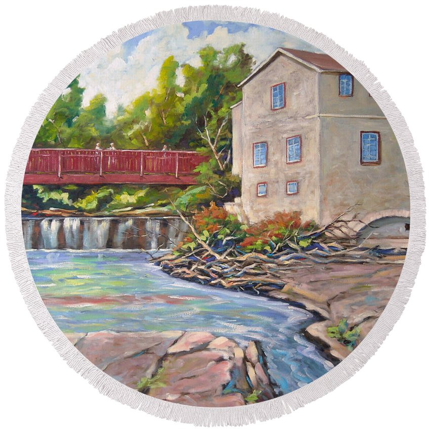 Mill Round Beach Towel featuring the painting Legare Mill by Richard T Pranke