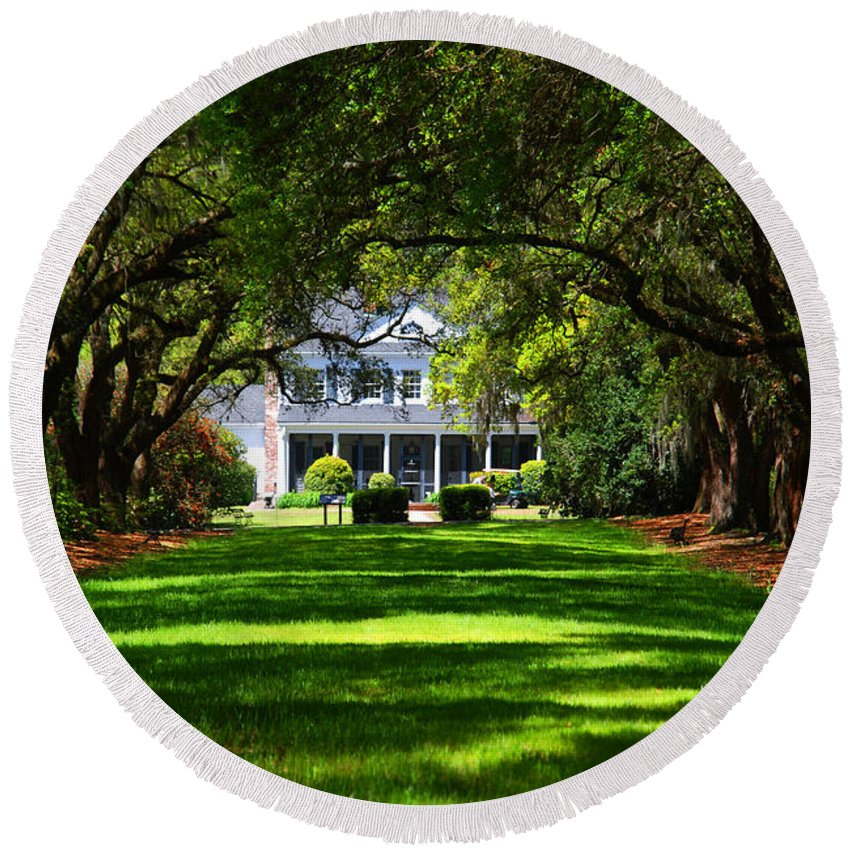 Photography Round Beach Towel featuring the photograph Legare Waring House Charleston Sc by Susanne Van Hulst