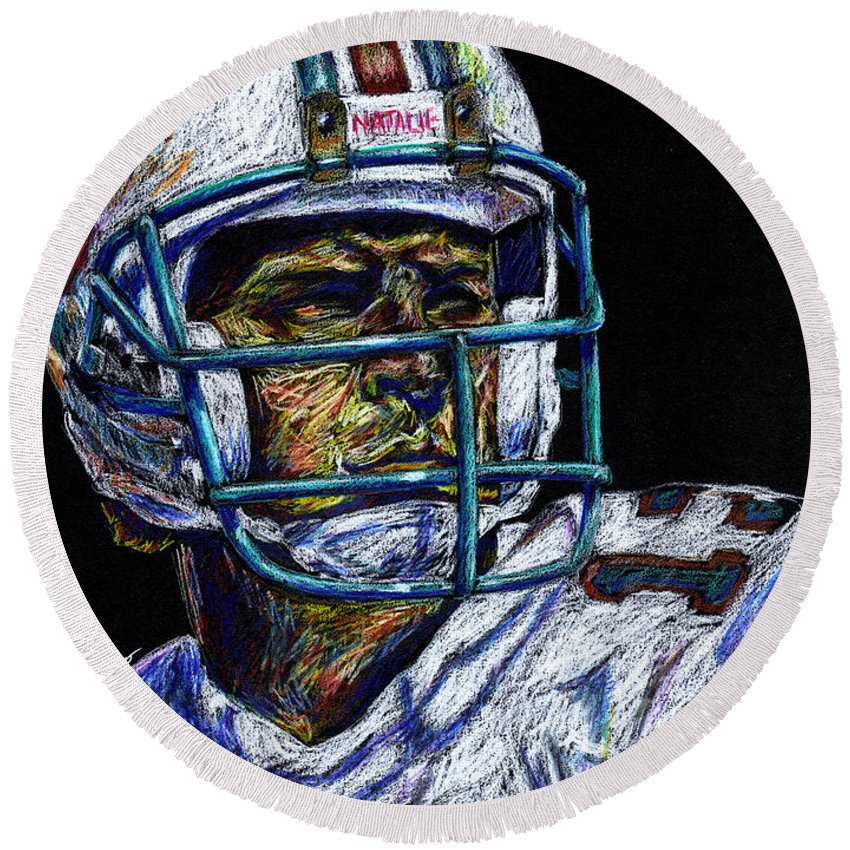 Dan Marino Round Beach Towel featuring the drawing Legend by Maria Arango