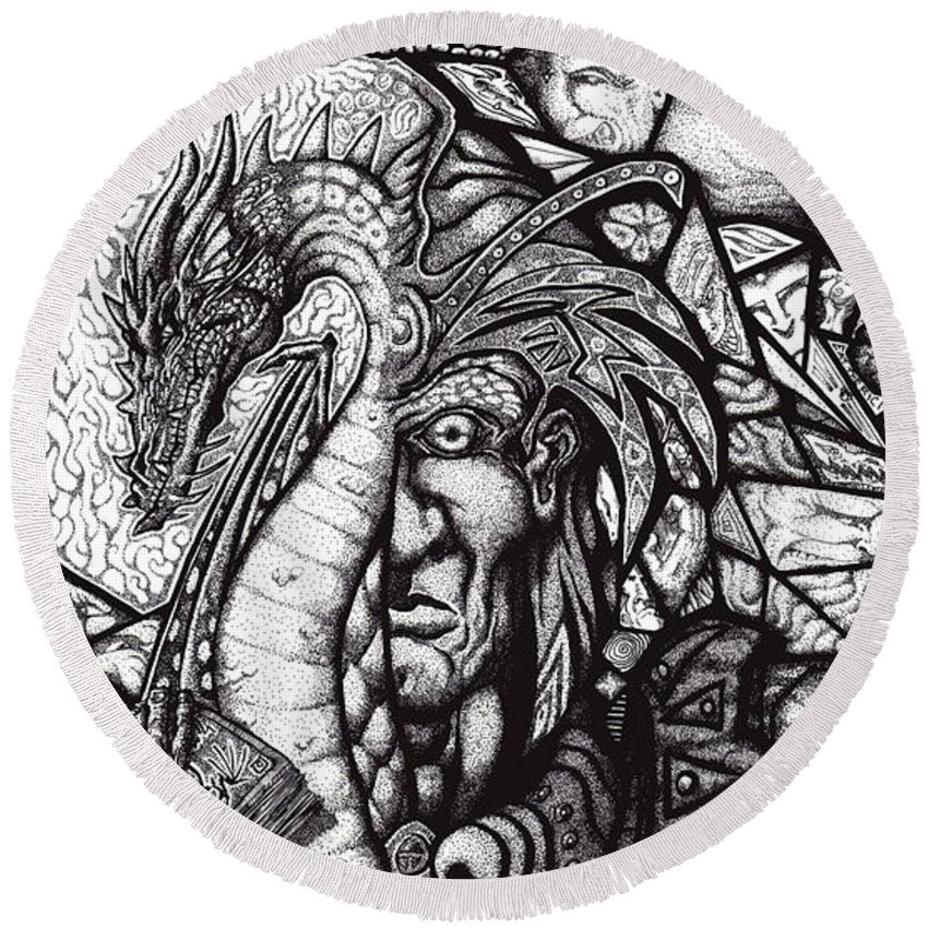 Pen And Ink Round Beach Towel featuring the drawing Legend by Tobey Anderson
