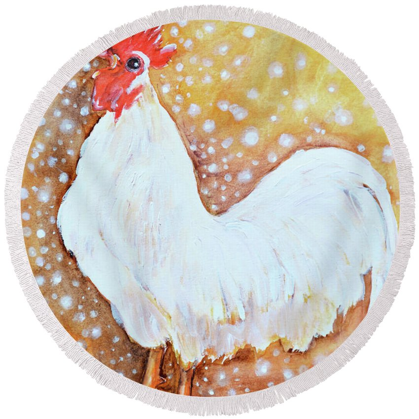 White Leghorn Rooster Round Beach Towel featuring the painting Leghorn Rooster Do The Funky Chicken by Ashleigh Dyan Bayer