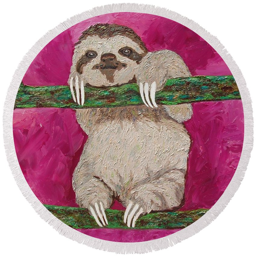 Sloth Round Beach Towel featuring the painting Leisurely Life by Amy Pugh