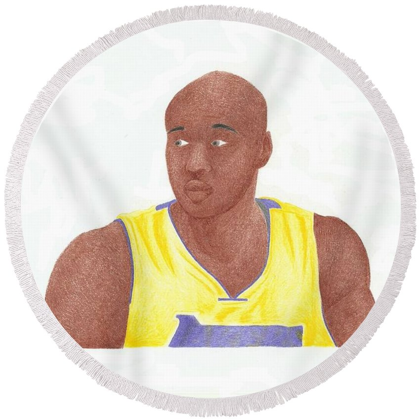 Basketball Round Beach Towel featuring the drawing Lemar Odom by Toni Jaso